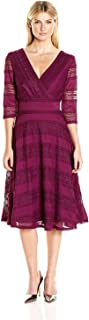 Sangria Women's V-Neck Textured-Lace Fit-and-Flare Dress