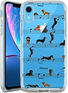 iPhone Xr Case Dachshund Music,UV Print Clear Transparent Case Scratch Resistant Shock-Absorbing Case Soft Flexible Protective Case for iPhone Xr