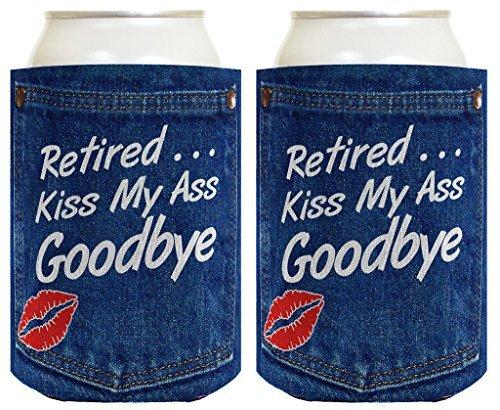 76DinahJordan Regalo de jubilación Divertida Cerveza Coolie Jubilado Beso mi Culo adiós Fiesta de jubilación Gag Regalo 2 Pack Lata Coolie Bebida enfriadores Coolies Denim