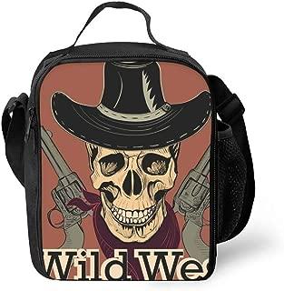 Hipster Portable Lunchbox Handbag for Men Women Adult Wild West Skull