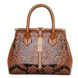 Coolives Bolso de mujer bolso de impresión de flores vintage bolsas de diseño elegante con correa para el hombro