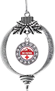 Inspired Silver - Ski Patrol Charm Ornament - Silver Circle Charm Holiday Ornaments with Cubic Zirconia Jewelry