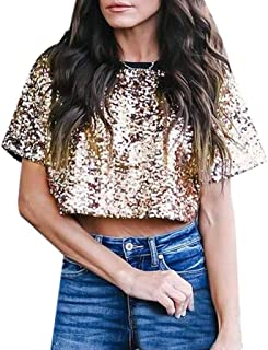 ea746494d46d4f succeedtop Women Sexy Loose Sequin Glitter Blouses Summer Casual Shirts  Ladies Pullover T-Shirt Ladies