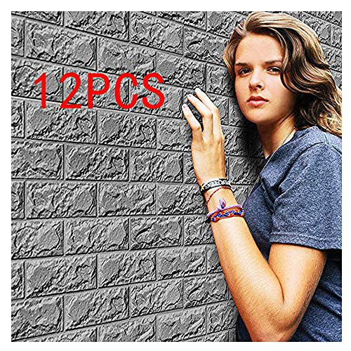 Mumustar 3D Brick Wall Stickers Tiles 12PCS, Removable PE Foam Embossed Brick Stone Art Wall Tiles Wallpaper For Bedroom Living Room Background Tv Decor 60 X 30CM (Grey)