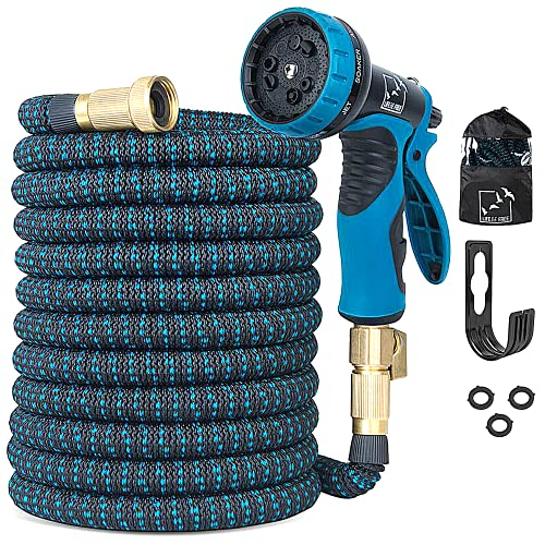 100 Ft Expandable Garden Hose, Extra Strength No-Kink, Lightweight Durable Flexible Expanding Water Hose Pipe, 9 Function Spray Nozzle, 3/4 Solid Brass Connectors, Holder, Storage Bag