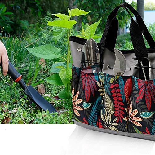 Garden Tool Bag, Heavy Duty Canvas Tool Storage Home Organizer Gardening Tool Kit Holder (Flower)