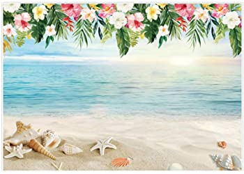 New Sand Beach Backdrop 7X5FT Vinyl Seaside Backdrops Fresh Floral Arch Door Ocean Cocktail Wine PartyWedding Photography Background for Lover Bridal Shower Wedding Photo Studio Props 317