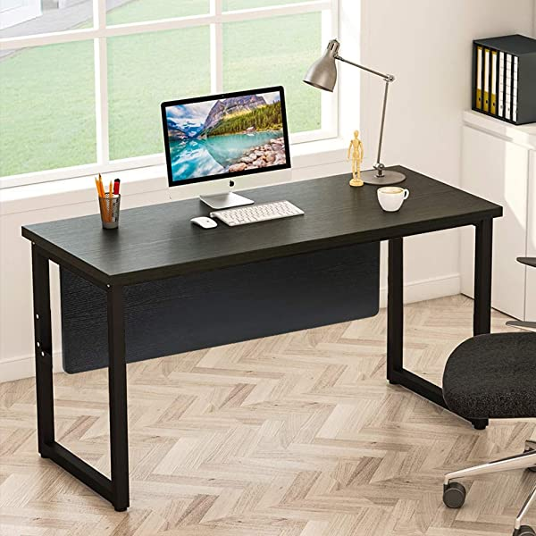 Tribesigns Computer Desk 55 Inch Modern Simply Office Desk Computer Table Study Writing Desk Workstation For Home Office Black Desk