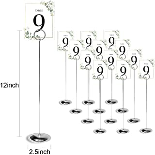 HOHIYA 12 inch Table Number Holder Stand Place Card Holders Wedding Party Memo Sign Photo Restaurants Chrome Plated Tall (Silver,Pack of 12)