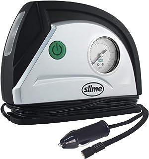 Slime 40050 12V Tire Inflator Portable Air Compressor Auto Pump with 100 psi Gauge, Long Hose and LED Light