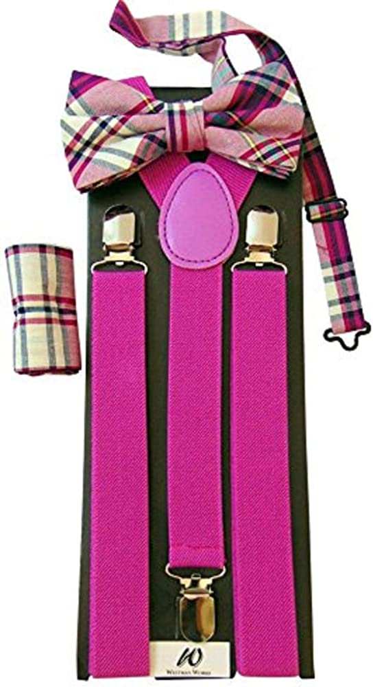 Pink Bow Tie and Suspenders for Boys or Girls Kids Formal Fashion Accessories