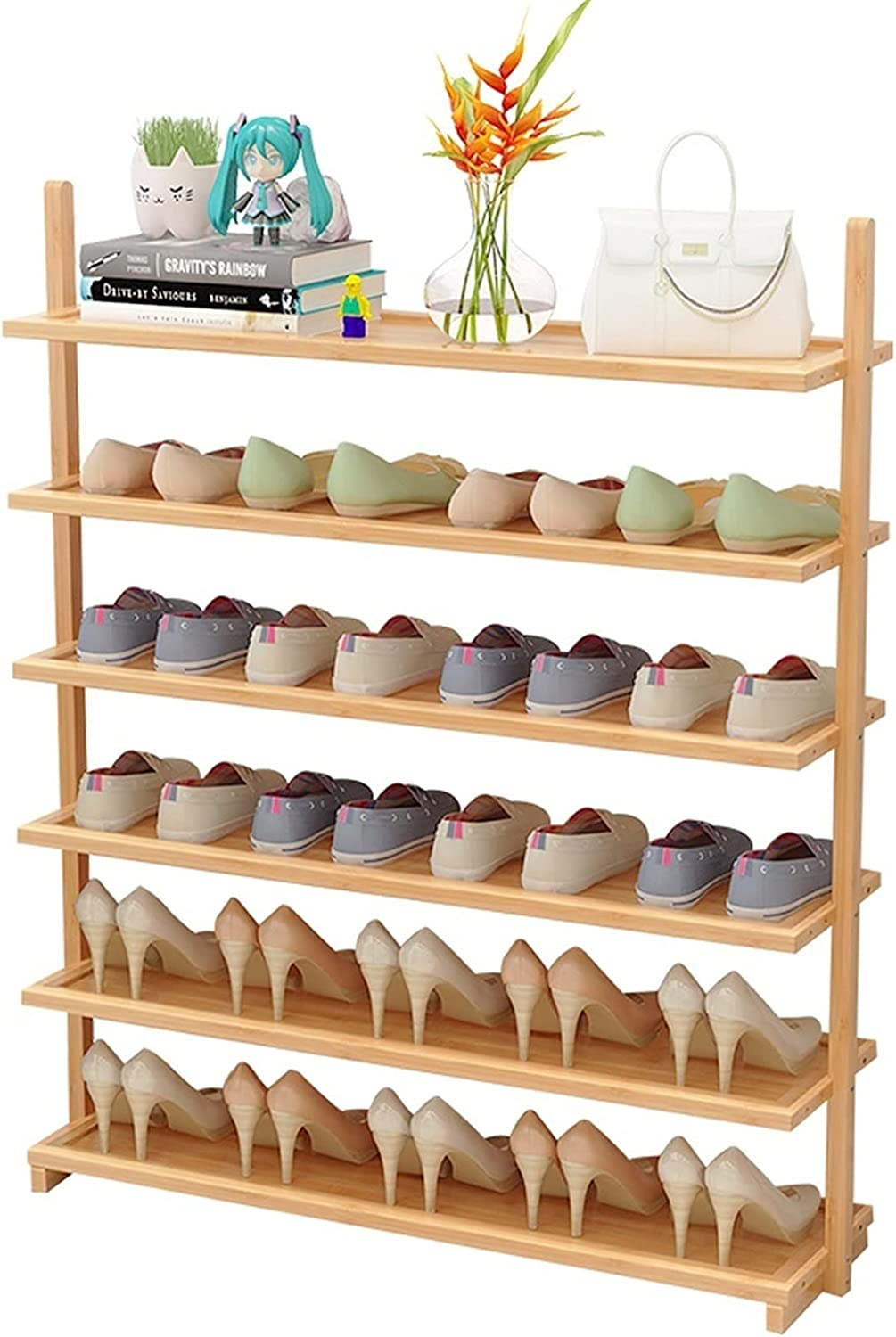 Max 84% OFF LOMJK Shoe Racks All stores are sold 6 Tier Bamboo Free-Standing Rack Sho Small