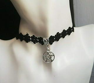 Encaje negro Pentáculo Wicca Collar Mujer Joyería Idea de regalo Collar gótico oscuro Collar de niña