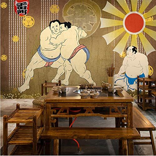 Wuyii 3D-fotobehang, personaliseerbaar, Japanse figuren, retro-behang, wanddecoratie, sushi-tent, restaurant 400 x 280 cm