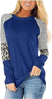 Xinantime Women Round Collar Tops T Shirt Stripe Casual Tunic Ladies Loose Long Sleeve Blouse