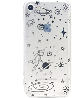 TNCY Space Cartoon Design Clear Bumper Cover Soft TPU Rubber Skin Phone Case Compatible with iPhone 7 iPhone 8 4.7 inch
