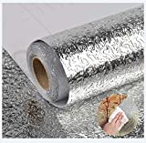 15.7'X118' Kitchen Oil Proof Backsplash Wallpaper Peel and Stick Heat Resistant Wallpaper Self Adhesive Aluminum Foil Waterproof Wall Paper for Kitchen Countertop Cabinet Drawer Liner Shelf Liner