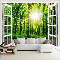 Xbwy 装飾壁画サンシャイングリーンフォレストウィンドウ自然風景画寝室リビングルームソファ装飾壁壁画壁紙-400X280Cm