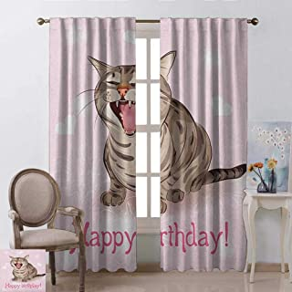 Birthday, Curtains Valance, Funny Cat Sings a Greeting Song on Pink Color Backdrop with Hearts Flowers, Curtains for Kitchen Windows, W84 x L84 Inch, Baby Pink Brown