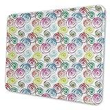 Tappetino per mouse rettangolare Mousemat, spirali contemporanee colorate effetto pennello a spirale in forma sovrapposta sciatta