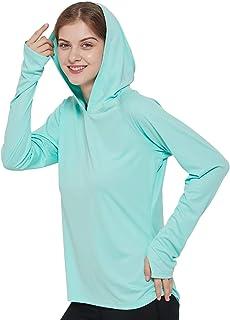 MIER Women's UPF 50+ Sun Protection Hoodie Shirt Long Sleeve Outdoor UV Shirt Running Hiking Tee Shirt, Quick Dry