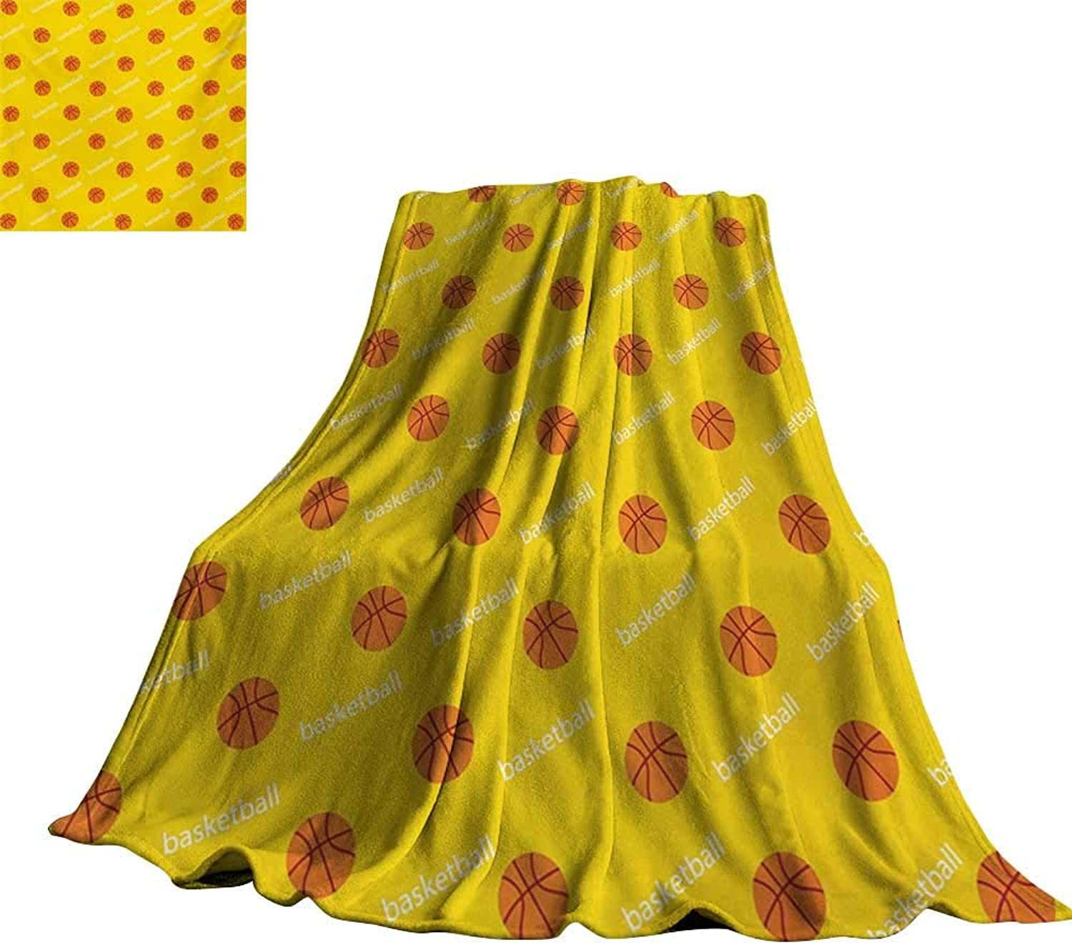 RenteriaDecor Basketball,Throw Blankets Athletics League Theme Balls on Yellow Backdrop Goal Fun Game Match for Couch Bed Living Room 60 x50