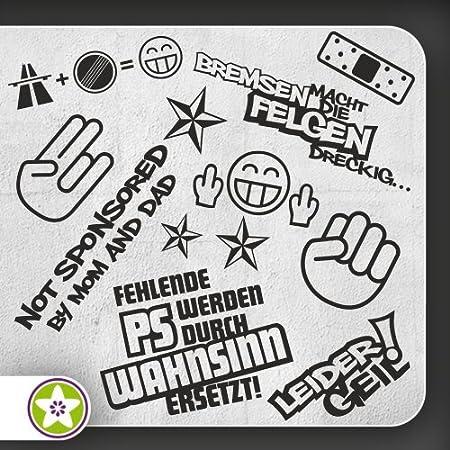 Kiwistar Sticker Bomb Set 01 Bogengröße A3 Bremsen Felgen Shockerhand Autobahnfreak Fehlende Ps Leider Geil Auswahl Sammlung Aufkleber Scheibe Tuning Decal Auto