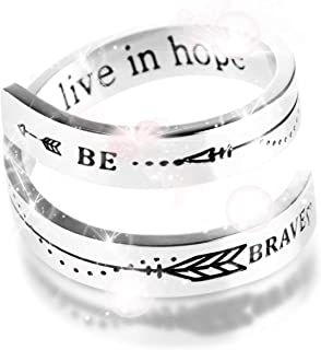 Be BRAVE WE LIVE IN HOPE Inspirational Stainless Steel Engraving Adjustable Size Personality Comfort Encouragement Opening Cool Twist Ring for Men Women Kids Friends