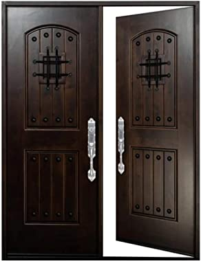 "Front Door with Speakeasy 30""x30""x80"" Window Exterior Door Wood Door with Iron Metal Protection Entry Door in Dark Walnut Sta"