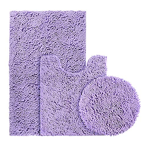BYSURE Lavender Bathroom Rug Set 3 Piece, Bath Rugs Toilet Rugs and Mats Sets, Extra Absorbent Shaggy Chenille Bathroom Mat Set Soft & Dry Bathroom Rugs Sets and Mats Sets Non Slip Washable Rugs