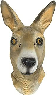 LUHUAISH AU Kangaroo Latex Animal Masks Headdress Headgear Cute Halloween Masquerade Performances Props (Color : Kangaroo, Size : One Size)