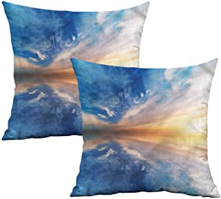 Khaki home Nature Square Kids Pillowcase Sky Reflections Sunset Square Pillowcase Protector Cushion Cases Pillowcases for Sofa Bedroom Car W 20