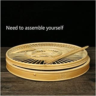 JRPBH Bamboo manual birdcage Self assembly polishing Round cage Bottom drawer house outdoor hanging decoration parrot cage...