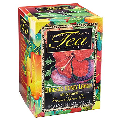 Hawaiian Islands Hibiscus Honey Lemon Tropical Green Tea, All Natural - 20 Teabags
