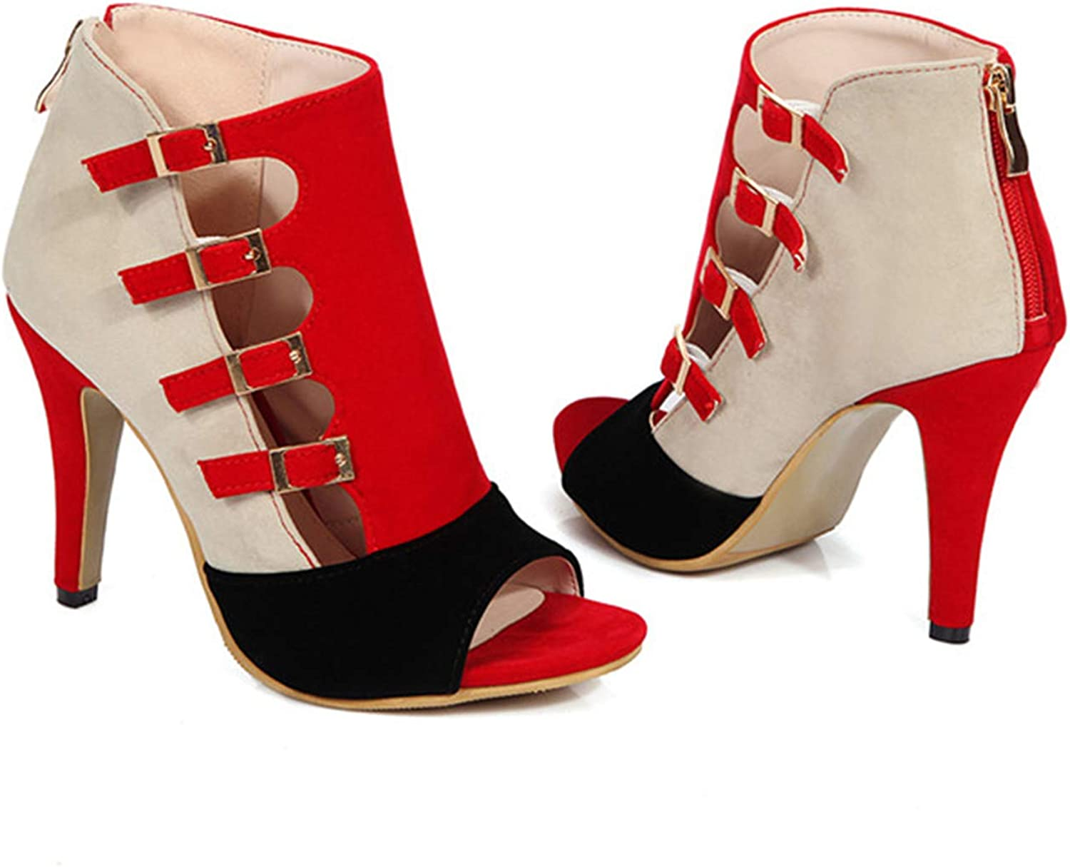 Women High Heels Gladiator shoes Summer Party Pumps Red Buckle High Heel shoes Zip Chaussure