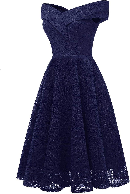 Women Elegant Lace Dress Aline Slash Party Work Retro Lace Dress Evening Dress