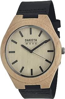 Dakota Genuine Maple Unisex Wood Watch with Black Leather Strap