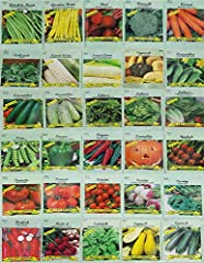 Includes 30 Assorted Different Varieties! 30 Packs of Seeds! - 2020 Year Stock- May Include Varieties - Chicago Pickling Cucumber, White Spine Cucumber, Table Queen Squash, Stowell's Evergreen Sweet Corn, Country Gentleman Sweet Corn, Collards, Butte...
