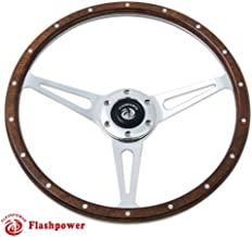 Flashpower 14'' Classic Wood Steering Wheel Riveted with Horn Button restoration