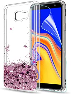 LeYi Compatible with Funda Samsung Galaxy J4 Plus Silicona Purpurina Carcasa con HD Protectores de Pantalla,Transparente Cristal Bumper Telefono Gel TPU Fundas Case Cover para Movil J4 Plus Oro Rosa