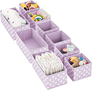 mDesign Soft Fabric Dresser Drawer and Closet Storage Organizer Set for Child/Kids Room, Nursery, Playroom - Organizing Bins in 2 Sizes - Polka Dot Pattern, Set of 9 - Light Purple with White Dots