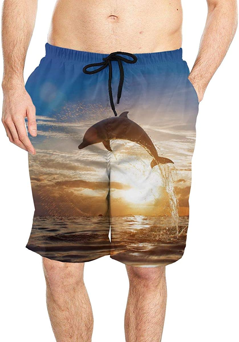 DASMUS Dolphin Jumping from Sea Water Men's Drawstring Beach Board Shorts Swim Trunks with Mesh Lining