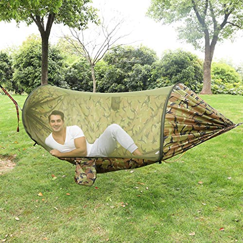 Fengyj Hammock Outdoor With mosquito net 200Kg hammock garden hammock with roof hammock Light hammock Adults,camouflage