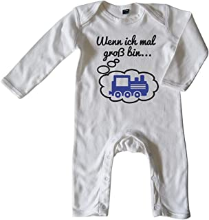 Mikalino Baby Schlafanzug Wenn ich mal groß Bin. Lok Schwarz-blau Print
