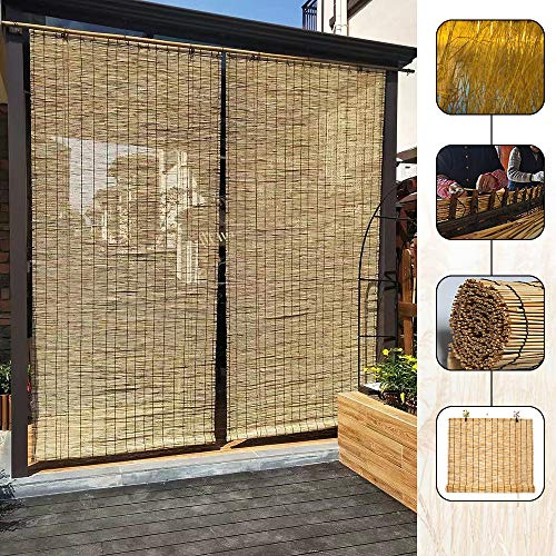 LMDX Bamboo Roller Blinds 100cm - Outdoor Shade, Easy To Hang,for Sun Conservatory, Patio, Door,Sunshade Lifting Shutters,Wooden Venetian Blind