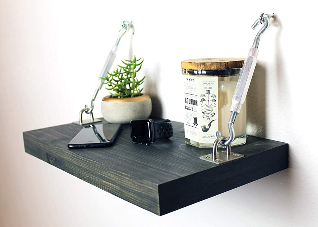 Floating Modern Bedroom Nightstands with Industrial Turnbuckles - Great For Small Spaces
