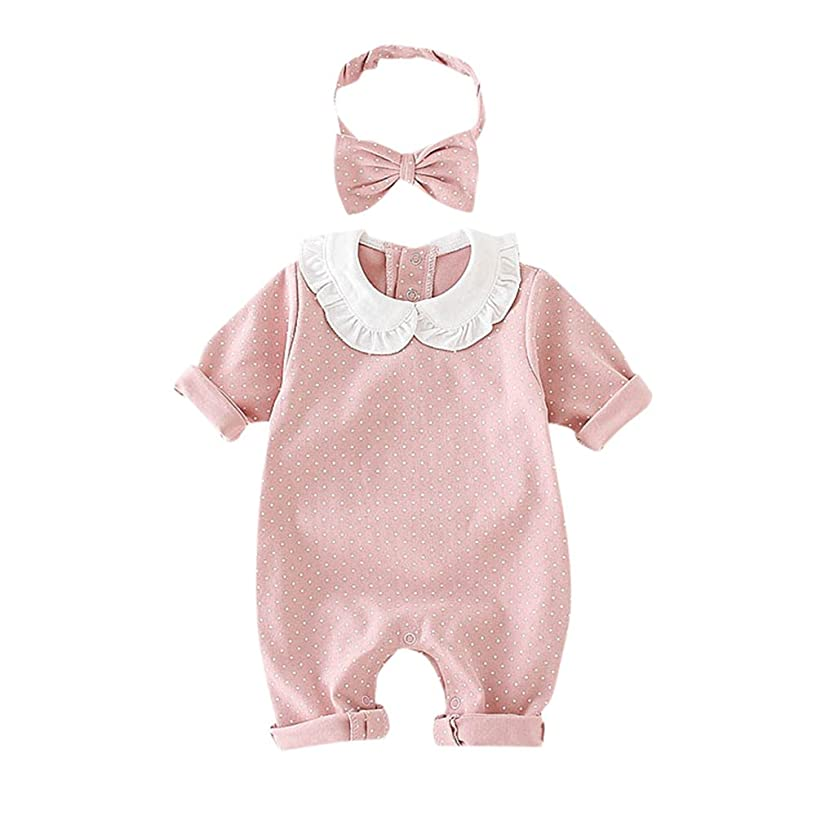 Toraway- Baby Pan Collar Romper Jumpsuit for 0-18 Months Long Sleeve Polka Dot Bodysuit Onsies Headband Outfits Clothes