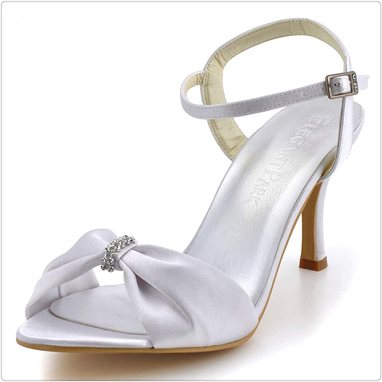 BIONGTY& Woman High Heel shoes Open Toe Rhinestone Ankle Strap Satin Wedding Sandals