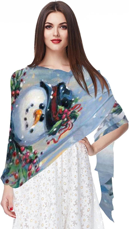 Scarfs for Women Lightweight Fashion Scarves Print Floral Pattern Scarf Shawl Wraps, Happy Snowman Red Bird