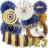 deerzon 誕生日 飾り付け デコレーション 35点セット ペーパーファン ガーランド タッセル 男の子 女の子 (ブルー)